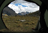 view from the tent (Peru 2009,  Taullipampa 4250m. Cordillera Blanca)