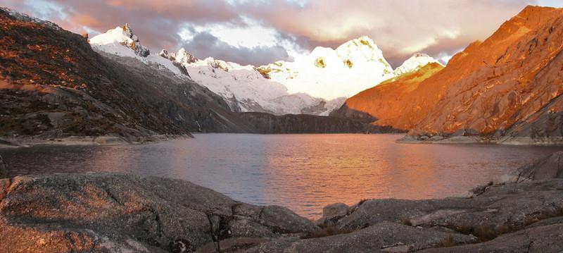 panorama of Lake Cullicocha 4628m and Nevados Sante Cruz 6241m. (Peru 2009, Lake Cullicocha 4628m. Cordillera Blanca)
