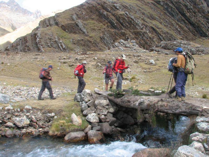 the route of the trek (Peru 2009, Yuraj Machay 4000m. - Collota 4360m.pass - Safuna 4150m. Cordillera Blanca)