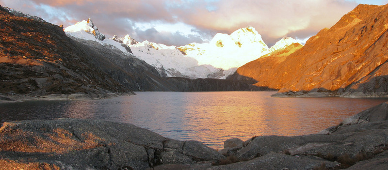 panorama of Lake Cullicocha 4628m and Nevados Sante Cruz 6241m. (Peru 2009, Lake Cullicocha 4628m. Cordillera Blanca)