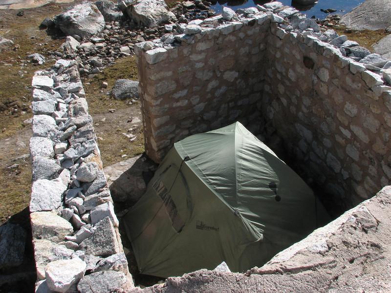 My very well protected tent (against the Puma:-) (Peru 2009, Lake Cullicocha 4628m. Cordillera Blanca)