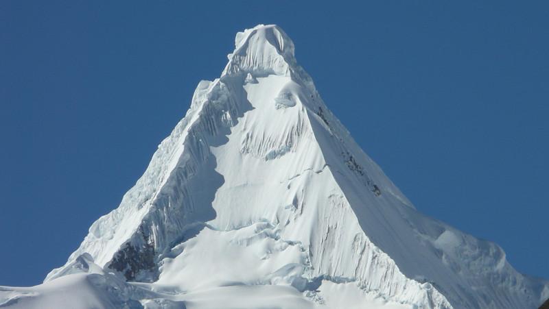 the Alpamayo summit 5947m. (Peru 2009, Jancarurish 4250m. Cordillera Blanca)