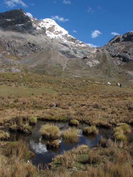 Campground 8, underneath the Gara Gara pass 4550m. (Peru 2009,  underneath Gara Gara pass 4550m. Cordillera Blanca)