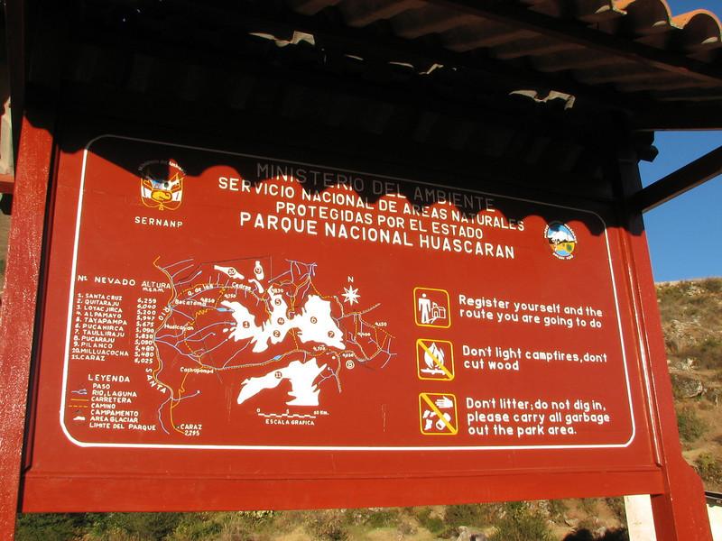 Board with the map of National Park Huascaran (Peru 2009, Cashapampa290m. Cordillera Blanca)