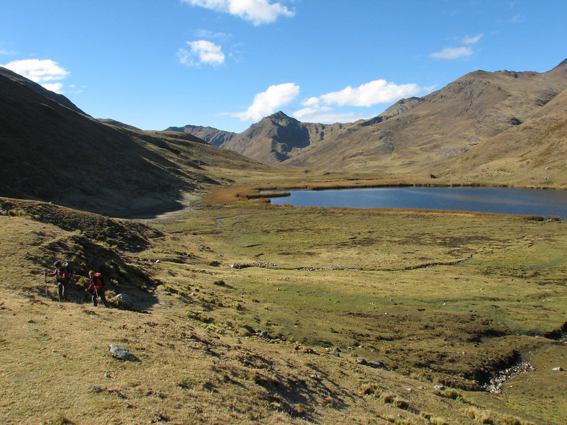 landscape with Lago Garampayoc chica (Peru 2009, Yuraj Machay 4000m. - Collota 4360m.pass - Safunna 4150m. Cordillera Blanca)