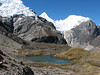 Lake Cullicocha 4628m. and the first view of the W side of the Alpamayo 5947m. (Peru 2009, Lake Cullicocha 4628m. - Calamina 3950m. Cordillera Blanca)