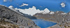 panorama Lago Cullicocha 4628m with the Santa Cruz massif. (Peru 2009, Jancarurish 4250m. - Vientuna pass 4770m. - Osururi pass 4860m. - Lake Cullicocha 4628m. Cordillera Blanca)