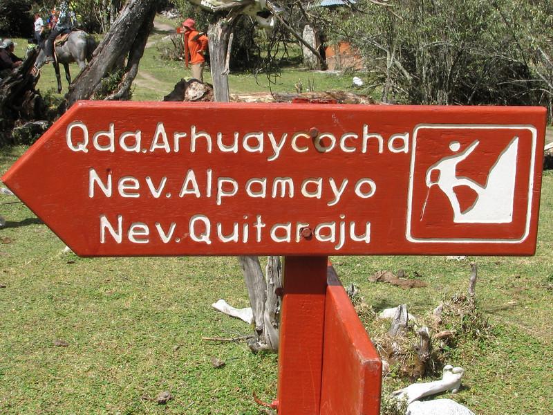 sign of Nevados Alpamayo direction (Peru 2009, Llamacoral 3750m. - Taullipampa 4150m. Cordillera Blanca)