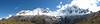 panorama with Nev. Quitaraju 6036m, Nev.Alpamayo 5947m, Nev. Rinrijirca 5810, and Nev. Pucajirca Central 6014m. (Peru 2009,  Taullipampa 4250m. Cordillera Blanca)