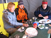 Hannie, Michel en Peter in parting with the cake (Peru 2009, Campground 4, Teclla cocha 4800m. Auzangate )