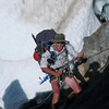 Mike abseiling onto the Iso Glacier