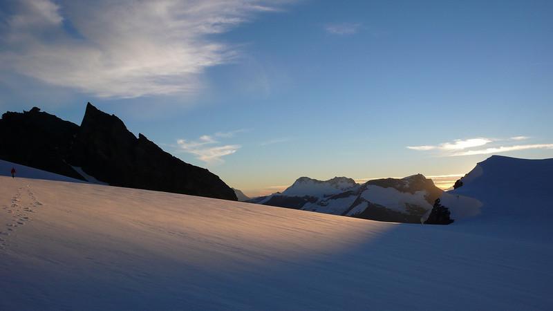 The Bonar Glacier at sunset