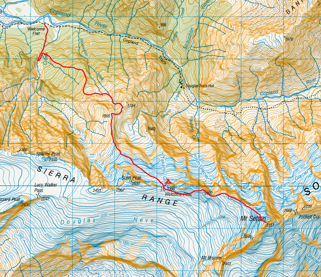 """Bluewater Route and Sefton topo. The route is described at <a href=""""http://climbnz.org.nz/nz/si/main-divide-of-the-southern-alps/mt-sefton/bluewater-route-to-welcome-pass"""">http://climbnz.org.nz/nz/si/main-divide-of-the-southern-alps/mt-sefton/bluewater-route-to-welcome-pass</a> and is a well marked, pretty well cut track up through the bush from a large cairn on a terrace at the 600m contour in Scott Creek. From the bush line the track is cut but less well marked as it gains an obvious spur which is followed to around the 1260m mark. Minimal water is available except at the 800m contour and once in the basin below Pts 1800 and 1784. A good bivvy ledge for two people with some water in a muddy/mossy tarn exists at around the 1220m contour on the cut route. If anyone heads up there take flagging tape for the scrub please - this route is a great asset!"""