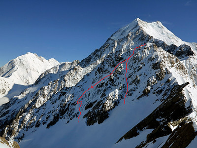 Line of ascent on the South Face of Pibrac at right ('JM Goes Tramping,' MC4-/WI2, 350m), descent route at left.