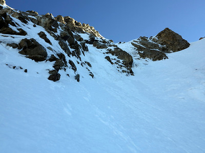 Looking up at the upper section of the route - I took the ice ramp in the centre and went left out of sight