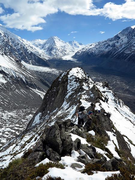 Climbing towards Caroline Hut