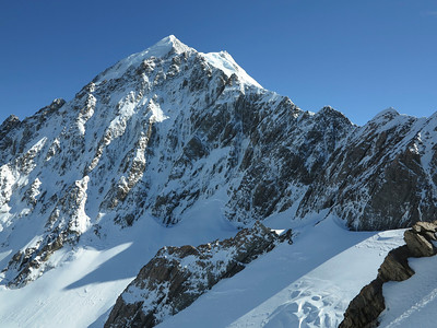 South Face of Nazomi (Low Peak of Aoraki above) from the summit ridge of Pibrac.