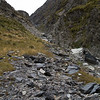 The rather chossy gully leading to Gunsight Pass