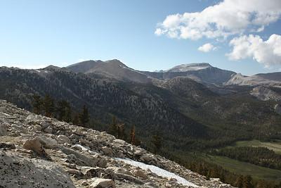 Cirque Peak, Trailmaster Peak, Mount Langley – left to right.