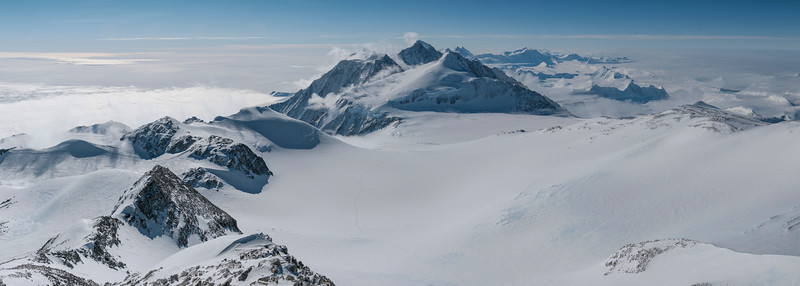 Looking north along the Ellsworth Mountains from Mt Vinson, Antarctica