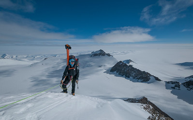 Approaching the top of the fixed lines, Mt Vinson, Ellsworth mountains, Antarctica