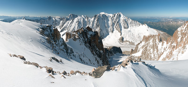 The Mont Blanc Range from the summit of the Aiguille d'Argentiere