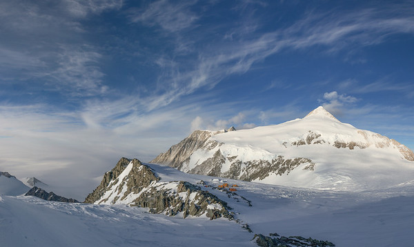 Panorama of High Camp on Mt Vinson, with Mt Shinn behind, Antarctica