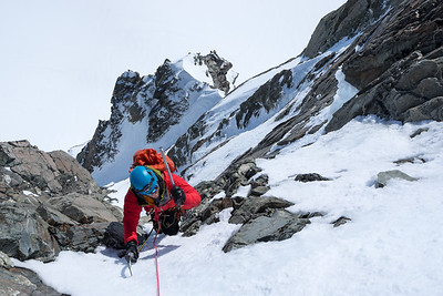 Finishing a new line on Mt Spencer in the Franz Josef Glacier, New Zealand. 'First Light' is a five pitch lin on the sunnier west side and complements 'Pitch Black' around the corner on the southern side. It goes at grade MC4. =====================================