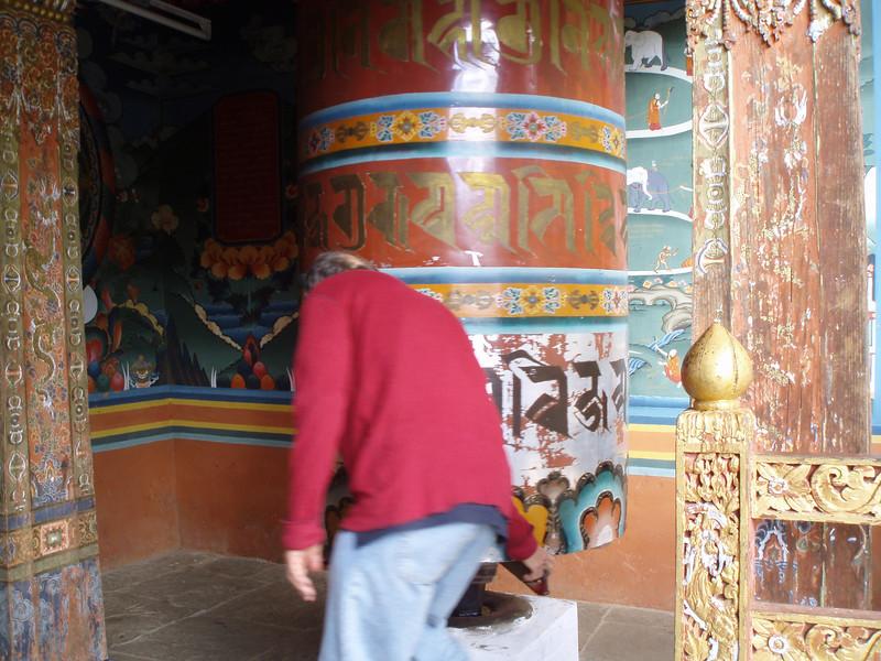 turning the prayer wheel at Tango goempa (always clockwise)