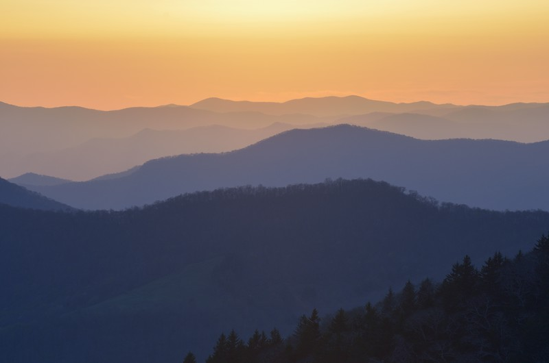Great Smoky Mountains National Park Sunset in Blue and Orange