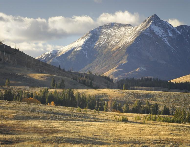 Yellowstone National Park Mountain Peak in the Snow