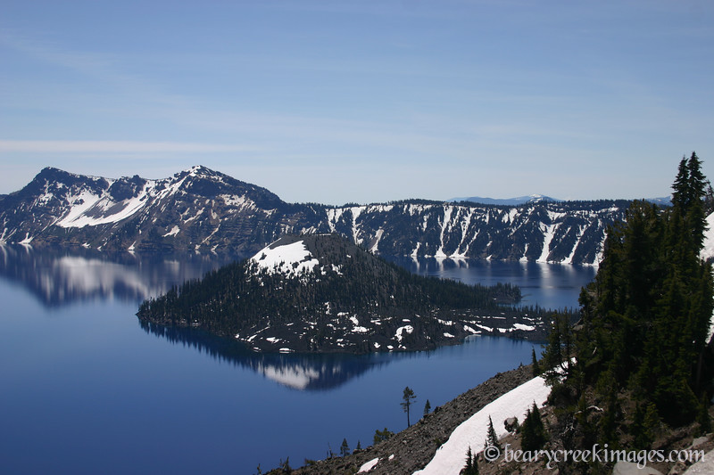 Wizard Island in Crater Lake in June