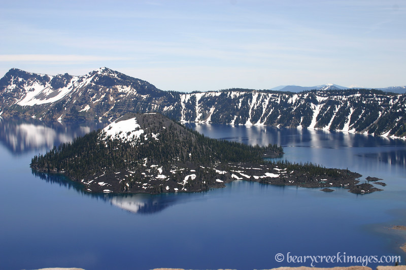 Wizard Island in Crater Lake, Oregon in June