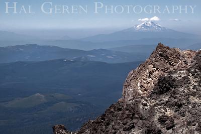 Mount Shasta behind a Mt Lassen caldera peak Lassen Volcanic National Park, California 0709ML-MSML3