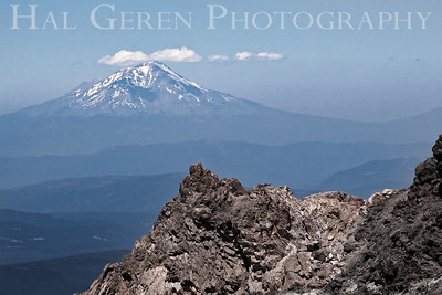 Mount Shasta behind the Mt Lassen caldera Lassen Volcanic National Park, California 0709ML-MSML5