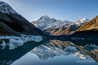 Amazing reflections of both Mt Cook and the icebergs floating on Hooker Glacial Lake in  Aoraki Mt Cook National Park