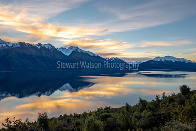 Stunning Lake Wanaka after sunset with amazing cloud reflections