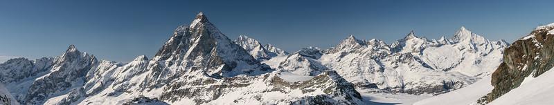 Dent d'Herens, Matterhorn and Zinalrothorn, Zermatt, Switzerland