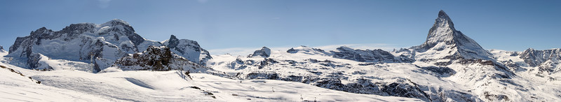 Breithorn range and Matterhorn, Zermatt, Switzerland