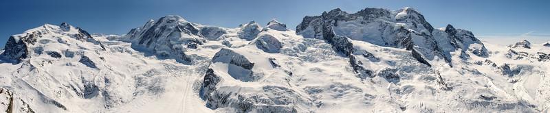 Monte Rosa, Lyskamm and Breithorn range, Zermatt, Switzerland
