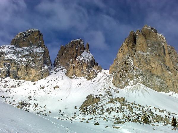 Sassolungo range, Sella Ronda ski tour, Dolomites, Italy