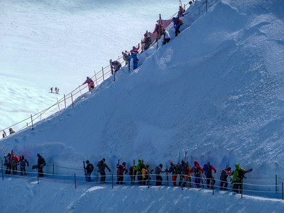 Descent from Aiguille du Midi, Mont Blanc range, France