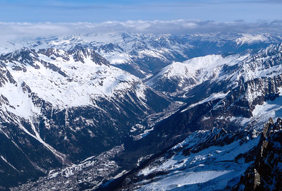 View over Chamonix from Aiguille du Midi, Mont Blanc range, France