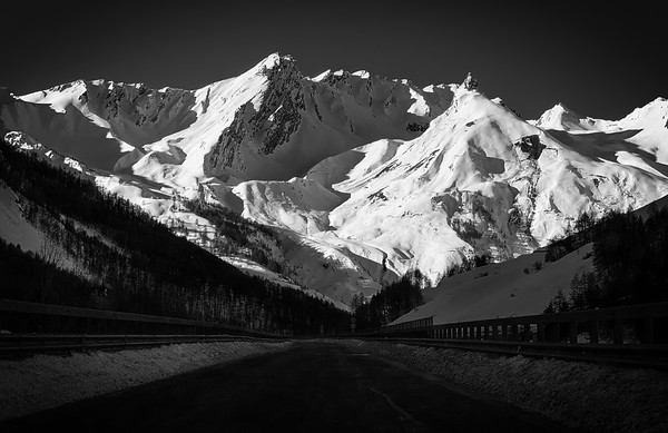 The road to the Grand-St. Bernard Pass, Italy