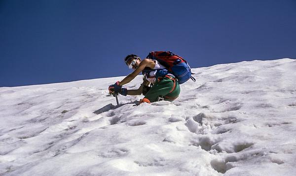 1992, self portrait climbing Cima di Castello, Italy