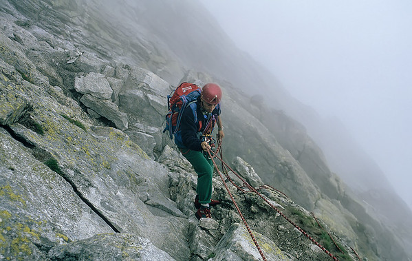 Descending from Piz Badile, Italy
