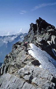 Climbing Piz Cengalo normal route, Italy