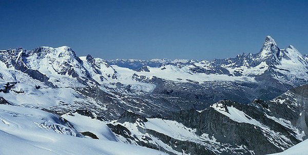 View over Monte Rosa and Matterhorn from Allalinhorn summit, Switzerland