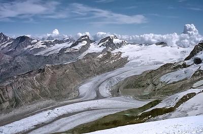 View from Western Breithorn summit (4.165m), Italy, Switzerland
