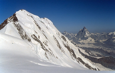 View over Lyskamm and Matterhorn from Punta Gniffetti, Monte Rosa